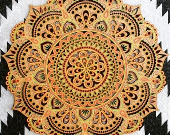 Large Bohemian Hand Painted Wooden Laser Cut Mandala Wall Hanging