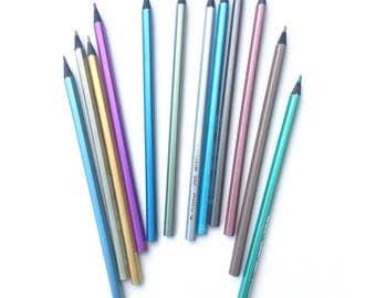 12 Color Metallic Colored Pencils Metallic Colored Eco Pencils Erasable