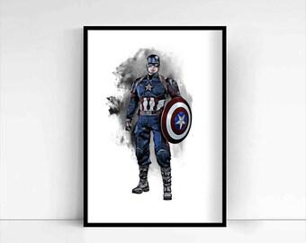 The Avengers 'Captain America' A4 Portrait