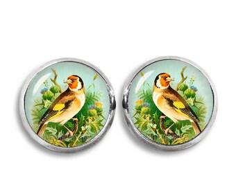Goldfinch Stud Earrings Goldfinch Earrings 12mm Bird Earrings Jewelry Photo Stud Earrings Glass Dome