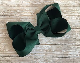 Green Boutique hair bow, hair bows, solid color hair bows, large hair bows, green forest hair bow, saint patricks hair bows, green bows