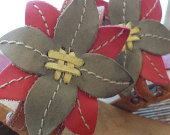 Vintage Brazil wedge wood and leather taille39 flowers