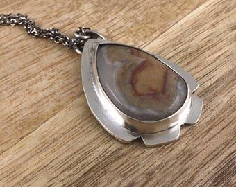 Jasper Necklace - Natural Stone Pendant - Brown Stone Necklace -  - Nature - Gypsy - Natural - 17034