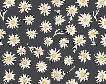 KNIT Fabric, Flower Glory Evening, Art Gallery Knits, Cotton Spandex Knit, Jersey Knit Fabric, Daisy on Black Knit Fabric K-31403