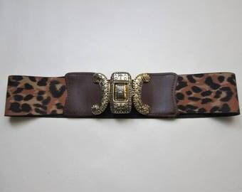 Leopard leather Vintage 1980's-70cm 80 Stretch elastic belt s