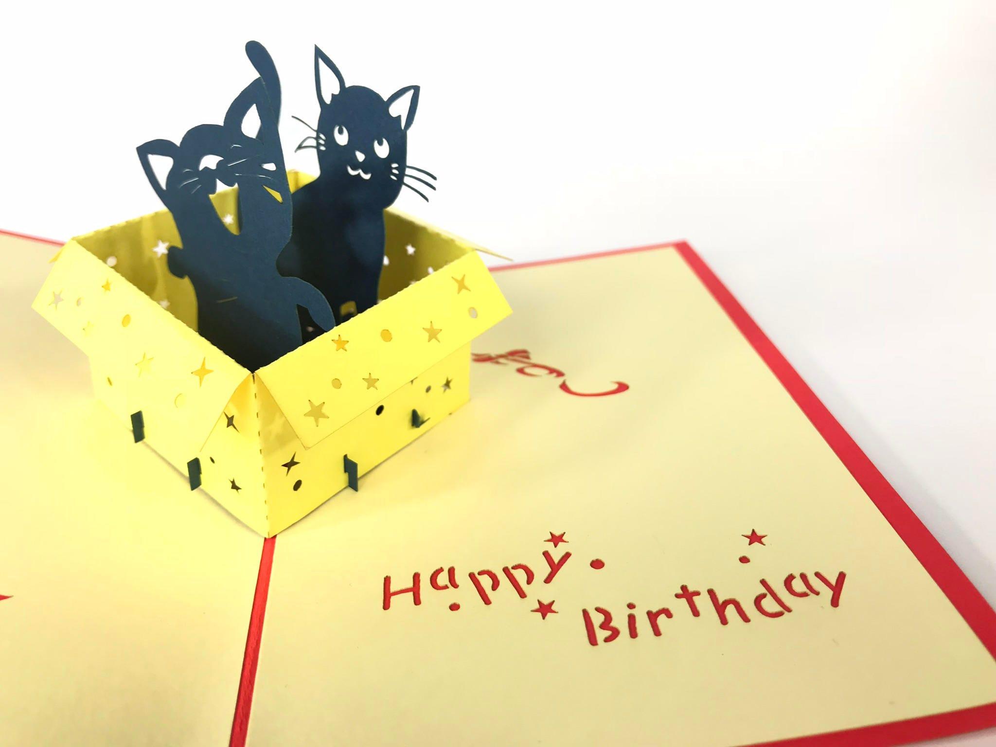 Birthday Cat Handmade Birthday Greetings Cards Kirigami