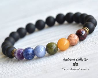8mm Mens Chakra Bracelet Yoga Jewelry Mens Bracelet Black Gemstone Bracelet Mala Bracelet Gift for men