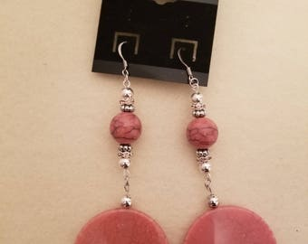 Pink and Silver Long Earrings