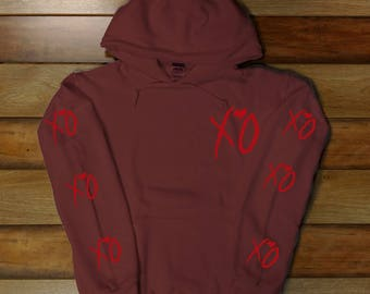 The Weeknd -XO- Hoodie, Starboy, The weeknd Tour Clothing (Red/ Maroon Logo)