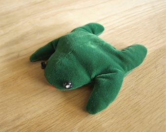 Vintage Green Frog Bean Bag with Jeweled Eyes – Cloth