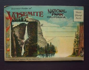 Yosemite National Park California Vintage Souvenir Foldout Folder Postcards