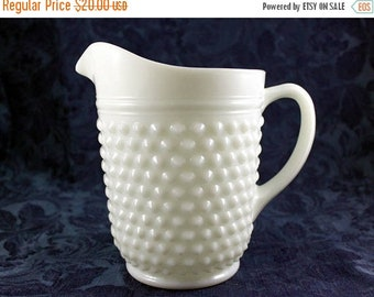 ON SALE Milk Glass Pitcher, Anchor Hocking Hobnail and Dash Pattern, Vintage from 1960s