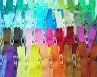 50 pieces of assorted color Zipper - 7 inch zippers , DIY zip Supply