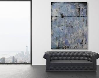 XL Textured Blue Abstract Painting / Modern Art / Blue Abstract Art / Blue Art / Extra Large Blue Painting / Oversized Blue Art