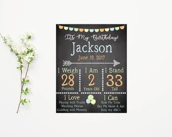 Birthday Poster Board- Birthday Chalkboard Sign- Boy Birthday Party- Printable Chalkboard- 5th Birthday- Birthday Party Decor-