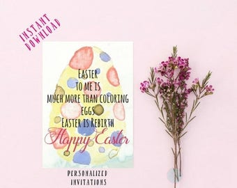 25% OFF SALE- 50 Percent Off Sale-DIGITAL Card He Has Risen Happy Easter Easter Cards Easter Eggs Colorful Eggs Easter Bunny Multi-color Des