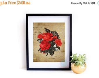 25% OFF SALE- PRINTABLE Art Victorian Art Print Gift for Her Dictionary Art Print Dictionary Print Rose Bouquet Art Red Rose Bouquet Victori