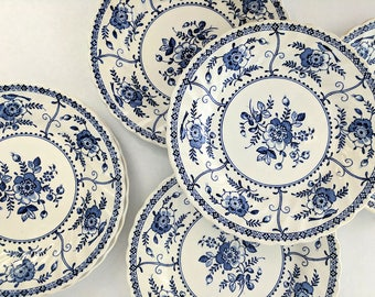 "Vintage 6.25"" Salad/Side  Plates Blue and White Floral Johnson Brother's Indies"