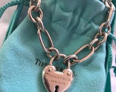 Sterling Silver Tiffany & Company Heart Padlock w/ Oval link bracelet