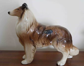 Large Coopercraft Pottery Collie Dog Figure  18.5 cm tall  Excellent condition