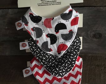 All 3 bibs bibs for baby 0-12 months, cotton and Terry hens chevron black and Red Feather