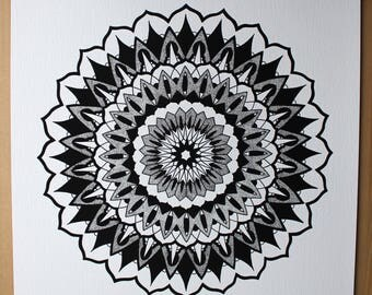 Limited edition A3 mandala giclee print, high quality paper and hand drawn