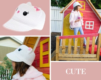 Toddler and Girl Straw Kitty Cat Cap Cloche Hat White