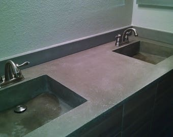 Custom Concrete Double Basin Sink