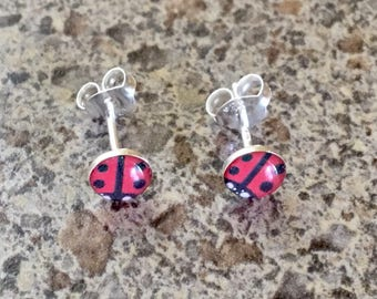 Sterling Silver Ladybug Earrings