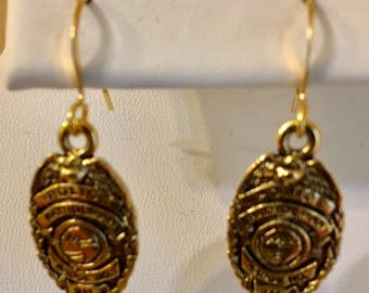 Police Badge Antiqued Gold Plated Pewter Earrings