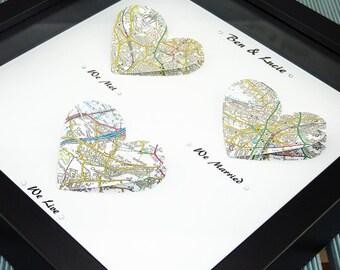 We met We married. Map Print Wedding Gift. Paper Anniversary. First Anniversary. One year anniversary. Husband wife anniversary gift. UK