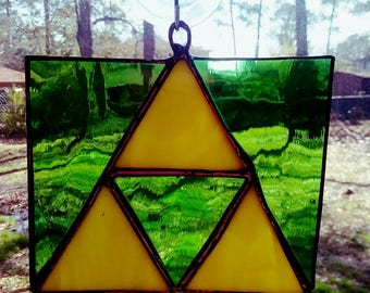 Green and yellow triforce - Zelda - link - suncatcher - video game - stained glass
