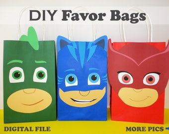 PJ masks party bags/ pj masks birthday/ pj masks favor bags/ pj masks party favors/ goody/ goodie/ candy/ treat/ loot/ bags/ decorations
