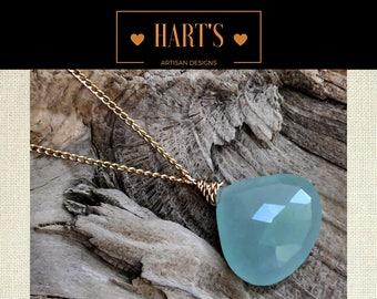Aquamarine Gemstone Pendant 14K Gold Necklace