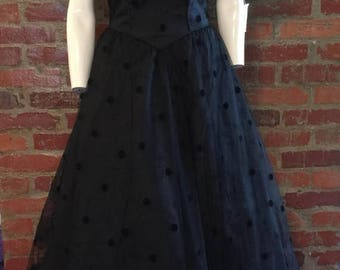 GOODBYE SUMMER SALE Stunning Vintage 80's Mike Benet Formals Southern Gothic Prom Gown; polka dots, crinoline, full skirt, oh my!