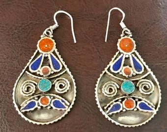 Lapis lazuli earrings, Afghan jewelry, tribal earrings, ethnic jewelry, Tibetan jewellery, boho earrings , drop dangle,bohemian gyps Earring