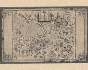 Harry Potter Hogwarts School Of Witchcraft & Wizardry Map > Prop/Replica