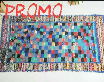 PROMO blue checkerboard boucharouite rug