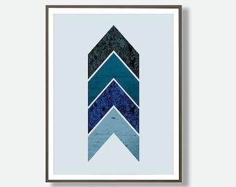 Blue Prints, Geometric Wall Art, Turquoise Wall Print, Chevron Print, Large Geometric Poster, Geometric Art, Chevron, Printable Geometric