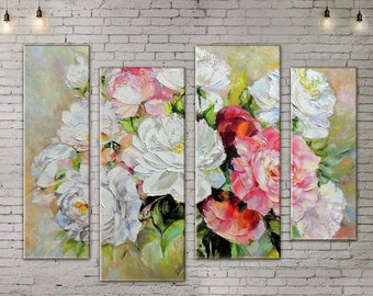 Large Wall Art, Flower Painting, Rose Art, Large Wall decor , Art Print on Canvas, Canvas Art, Interior Art, Living Room Wall Art