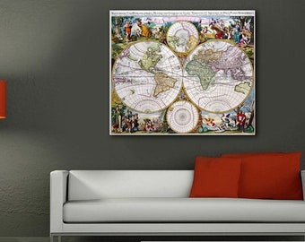 World Map on Canvas, Canvas large map, Wall art map,Canvas Map of the World, Map Canvas Print, Medieval map
