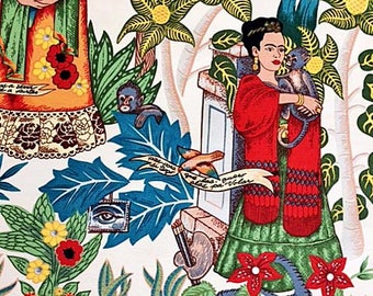 Frida Kahlo Fabric   Upholstery   Alexander Henry Fabric   Folklorico   Fridas Garden Heavy Oxford Cotton White   Mexican   Frida Material