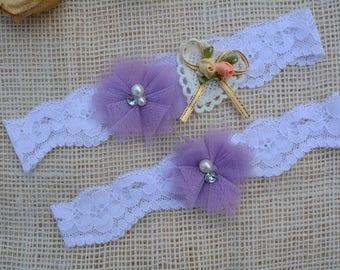 Lavender Garter, Heart Garter, White Garter, Wedding Garter Set, Bridal Garter, Purple Garter Set, Toss Garter, Purple Garter, Bridal Gift