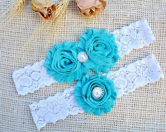 Beautiful Garter, Seafoam Bridal Garter, Set Garter Blue, Keepsake Toss ,Wedding Garters, Chiffon Flower, Rhinestone Garters, Blue Green