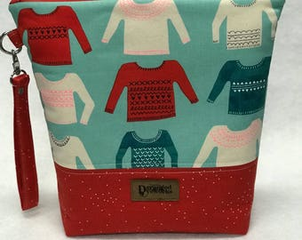 """SALE Project Bag - """"My Favorite Sweater"""" - Cotton + Steel - knitting/crochet/zipper pouch"""