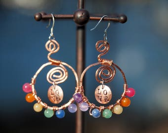 "Hand Stamped, Hammered Copper Wire, Rainbow Hoop Earrings. These say ""Love"". Copper and silver and stone, handmade."