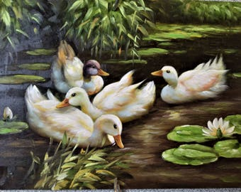 Acrylic Mini Painting Swans Vintage Mini Painting