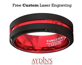 Mens Wedding Band - Tungsten Ring - Black And Red Tungsten - Scarlet Red - Beveled Edge - Tungsten Wedding Band