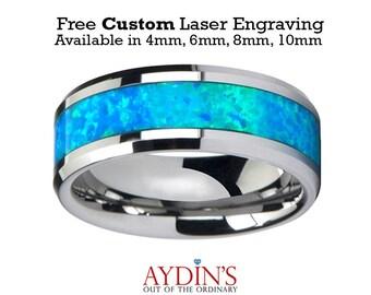 Tungsten Opal Ring   Blue Green Opal Inlay   Tungsten Wedding Band   Polished Finish   4mm   6mm   8mm   10mm   Tungsten Wedding Ring