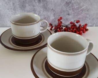 "Vintage Arabia Finland 2 teacups and saucers"" Pirtti"" Finnish design by  Raija Uosikkinen Scandinavian modern design"